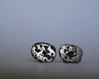Sterling Silver Chunk Earrings - Stud Earrings - Sterling Silver - Everyday Studs - Modern - Unique Gifts - Texture Earrings - For Her
