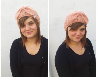 Salmon knit hat, wool hat, bow hat, knit hat, pink wool hat, knit beanie, women's beanie, peach hat, knit bow, peach knit hat, knit wool bow
