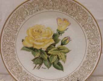 The Edward Marshall Boehm Rose Plate-The Peace Rose-English Bone China-Handcrafted-England-Limited Edition