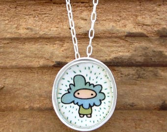 Head In The Clouds Necklace - Sterling Silver and Vitreous Enamel Stormy Girl Necklace