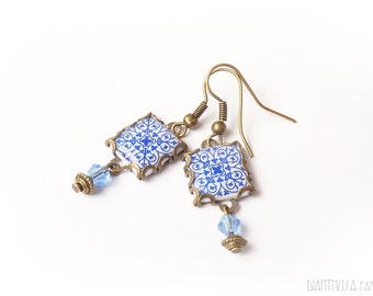 Pendientes con motivos geométricos art nouveau Azul blanco