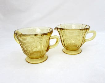 Madrid Pattern Amber Creamer & Sugar by Federal - 1930s