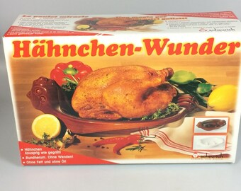 Chicken Roaster Baking Dish, Scheurich German Hanchen Wunder Vintage Art Pottery, healthy cooking, chef gift, Christmas gift, Hanukkah gift