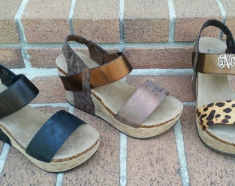 Monogrammed Strappy Wedges