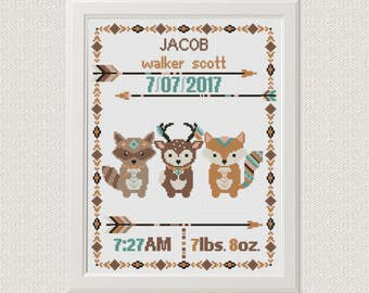 Cross stitch Birth announcement Fox deer raccoon cross stitch pattern baby sampler new baby boy birthday gift  aztec tribal nursery pattern
