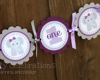 High Chair Banner -Purple Grey Elephant -Photo Prop -High Chair Bunting -1st Birthday -Small Banner -Elephant