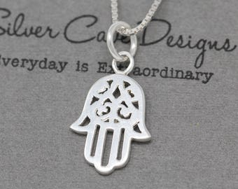 Small Sterling Silver Hand Necklace, Hamsa Hand Necklace, Silver Hand Necklace, Hand of Fatima Necklace, Silver Hamsa Hand Necklace