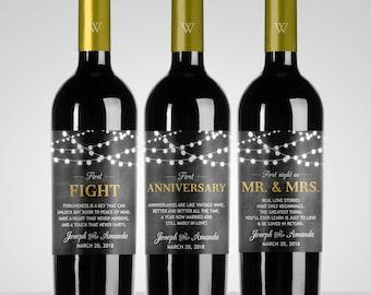 Custom Chalkboard String Light Wedding Milestones Wine Labels // Year of Firsts // Newlywed Gift // Wedding Wine Gift // Wedding Shower