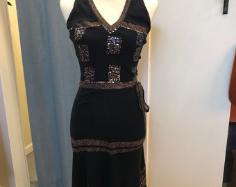 Funky 90s Sequin and Metallic Halter Dress