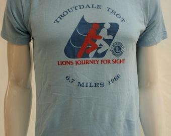 "80's Troutdale Trot - 1988 6.7 miles running marathon foot race competition blue 50/50 t-shirt - men's US S / 37"""