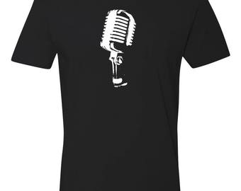 Black Cotton T-Shirt Retro Microphone Musician Series