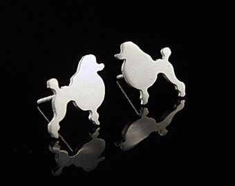 Poodle Sterling Silver Silhouette Earring Studs