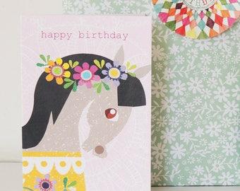 Horse Birthday Card | girls birthday card | children's card | horse card | horse lover | floral card | birthday card