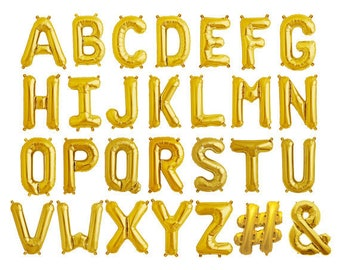 Custom Letter Balloons, Custom Balloon Letters, Letter Balloons, Gold Balloon Letters, Gold Air fill Letters, Gold Balloon Phrases,