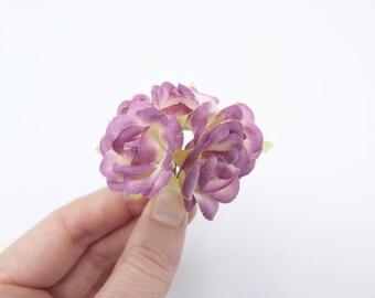 6 Dark Pink Roses Flowers Silk Flowers Artificial Flowers Fake Flowers Silk Flowers Green Decorative Flowers Craft Flowers