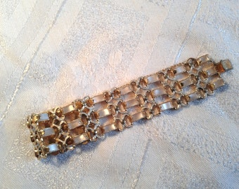 "Vintage ""Faux"" Mother of Pearl Bracelet, Damascene? 50s. Small Wrist!!!"