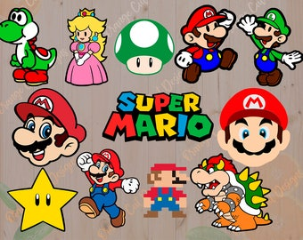 Mario Svg, Videogame Mario Bros Cut files: Svg, Dxf, Eps, Yoshi svg, Luigi svg for Cricut, Silhouette. Super mario clipart, bowser, toad svg
