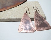 Hammered Recycled Copper Dangle Earrings, Aged Natural Patina Metal, Hand Finished Salvaged Metal Jewelry, Rustic Triangles