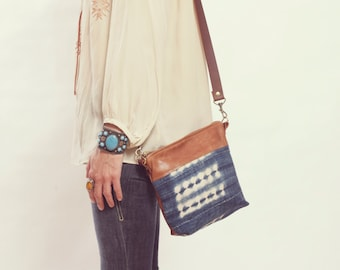 Small Tribal Crossbody Bag,  Ethnic Crossbody, Boho Chic Bag, Navy Purse, Brown Leather Crossbody, Small Leather Purse, Navy Crossbody