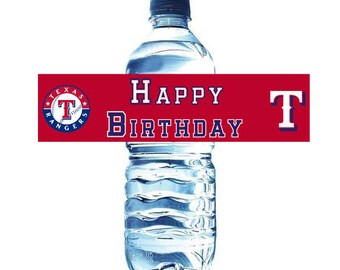 Texas Rangers Water Bottle Labels and Party Favor Tags