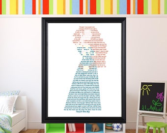 Disney Princess Merida in text Wall Art Disney Princess Art Brave Touch The Sky