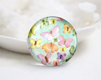 10mm 12mm 14mm 16mm 18mm 20mm 25mm 30mm Handmade Round Photo Glass Cabochons Domes-Butterfly (P2263)