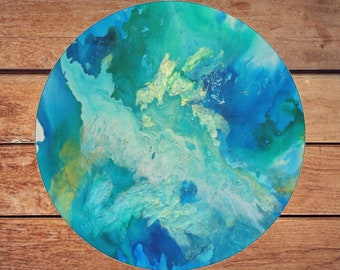 Mousepad Mouse Pad Fine Art Painting Abstract Turquoise Ocean Fine Art Contemporary Modern 'Call of the Ocean' Blue Green Gold Water Art