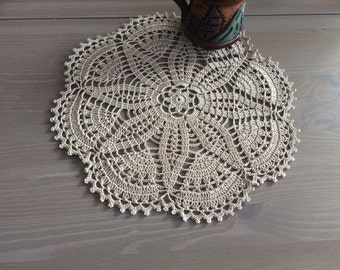 Large crochet doily -Taupe