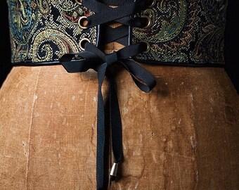 Corset, corset belt, laced corset, paisley corset, laced belt