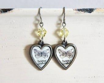 Hope butterfly earrings - Inspirational earrings - hope earrings - yellow crystal - charm earrings