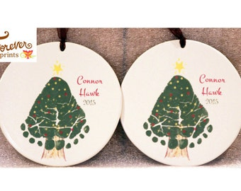Christmas Tree Footprint Ornament  302A_Orn_hand and footprint art, baby footprint keepsake, print kit, first christmas, grandma, grandpa