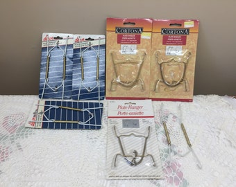 Vintage Plate Hanger Lot of 7 Pieces, 6 Are New Old Stock