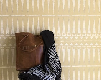 Large Tribal Wall Border Stencil Pattern - Painting a Custom Wallpaper Design for African Style or Modern Mid Century Wall Decor