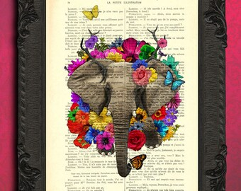 elephant poster art print elephant flowers elephant dictionary print poster elephant butterfly flowers