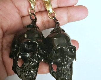 Skull ear weights-big skull ear weights- black skull ear weight-stretch earring-brass ear weights 1 pair