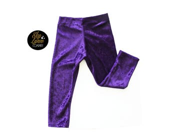 Purple Velour Handmade Soft Stretch Leggings