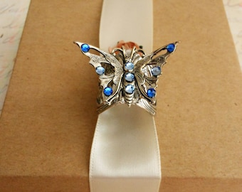 Finger Ring, Silver Butterfly Art Deco Sapphire Blue Crystals, Unique Rings for Women, Gift for Daughter Graduation, Nature Jewelery