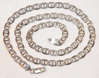 26 Inch 8mm Italian 42.5g Sterling Silver Mariners Diamond Cut Chain Or Necklace, 925 Older Vintage High Quality Necklace, Hard To Find Item