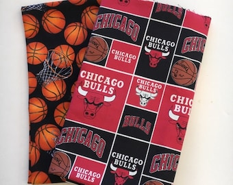 chicago basketball fabric, reversible custom pet bandana, pet scarf, dog bandana, pet clothing, pet attire, dog scarf, basketball bandana
