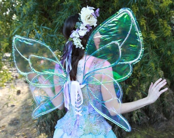 Large Blue and White Butterfly Fairy Wings