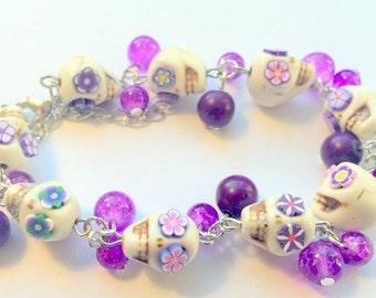 Sugar Skull Bracelet White Purple Flower Eyes Day of the Dead Adjustable Chain Bracelet