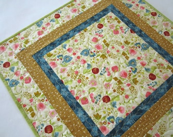 Quilted Table Topper Spring Floral Tabletop Handmade Table Quilt Square Table Linen Cotton Handmade Gift Thank you Mother's Day Gift