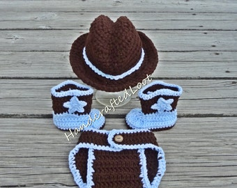 Newborn Crochet Baby Cowboy Hat Boot Diaper Cover Set Photo Prop Shower Gift Blue Brown 0-3 Months