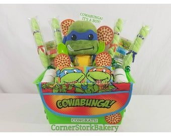 TMNT Diaper Gifts| TMNT Baby Gifts| Turtle Baby Shower| Turtle Centerpiece| Diaper Cake| Baby Boy Gift| Ninja Turtle Baby Gift Basket| Gifts