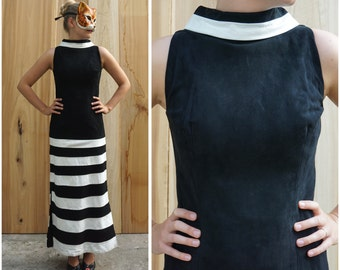Vintage 80s Black and White Striped Fitted Leather Suede Floor Length Sleeveless Maxi Dress | Medium