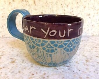 Peloton inspired hand-carved ceramic mug, handmade pottery cycling mug, inspirational stoneware mug