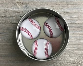 baseball magnets, set of 3, round storage tin, coach gifts, team gifts