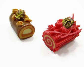 Dollhouse Miniatures Food 2 Mixed Log Roll Luxury Cake Supply Charms 13841