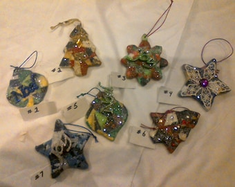 """Porcelain hand made ornaments. 4 1/2"""" high."""