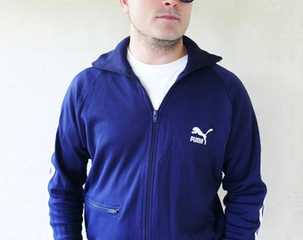 "Vintage mens old-school Puma windcheater/track jacket 1978 - dark blue . . . ""Like"" our fb page for 10% discount"